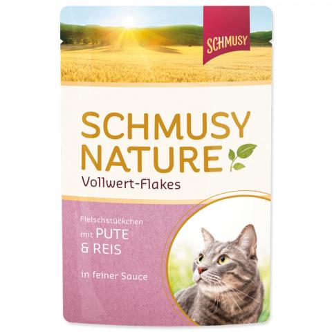 Konservi kaķiem - Schmusy Nature Vollwert-Flakes Turkey and Rice, 100 g