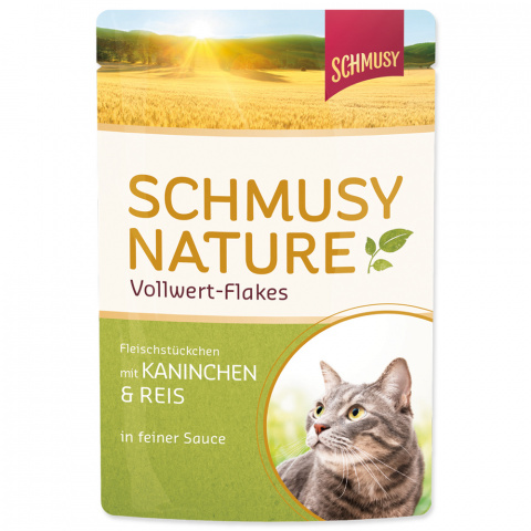 Konservi kaķiem - Schmusy Nature Vollwert-Flakes Rabbit and Rice, 100 g title=