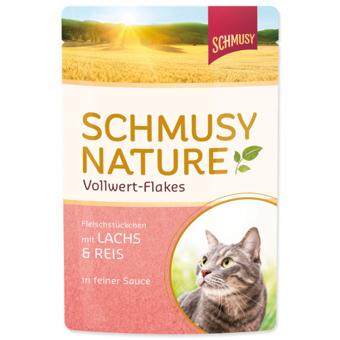 Konservi kaķiem - Schmusy Nature Vollwert-Flakes Salmon and Rice, 100 g title=