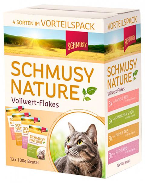 Консервы для кошек - Schmusy Nature Vollwert-Flakes Multipack, 12*100 г