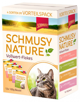 Консервы для кошек - Schmusy Nature Vollwert-Flakes Multipack, 12*100 г