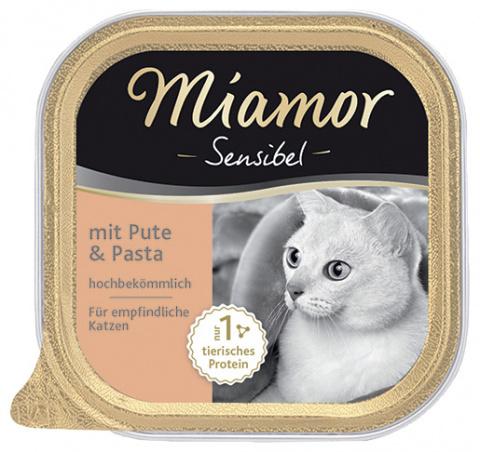 Konservi kaķiem - Miamor Feine Sensibel ar tītaru un makaroniem, 100g title=