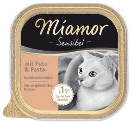Konservi kaķiem - Miamor Feine Sensibel ar tītaru un makaroniem, 100g