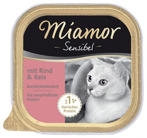 Konservi kaķiem - Miamor Feine Sensibel ar lielopu un rīsiem, 100 g title=