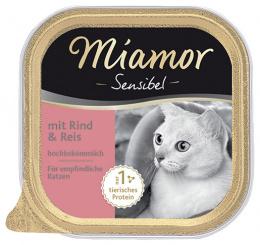 Konservi kaķiem - Miamor Feine Sensibel ar lielopu un rīsiem, 100 g