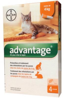 Капли от блох для кошек - Advantage cat 40, 0,4 ml N4, безрецептурный вет. препарат, reģ. NR - VA - 072463/3