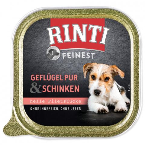 Konservi suņiem - Rinti Feinest, vista un šķiņķis, 150 g title=
