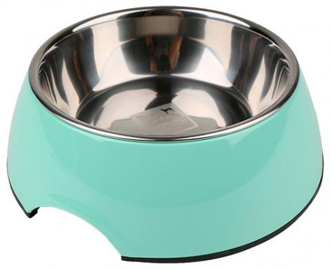 Металлическая миска для собак - Dog Fantasy Стальная миска 2in1, 350мл, цвет - зеленый title=