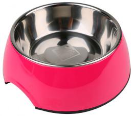 Bļoda suņiem metāla - Dog Fantasy nerūsējošā tērauda bļoda 2in1, 350ml, krāsa - rozā