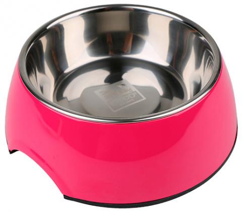 Металлическая миска для собак - Dog Fantasy Стальная миска 2in1, 350мл, цвет - розовый title=