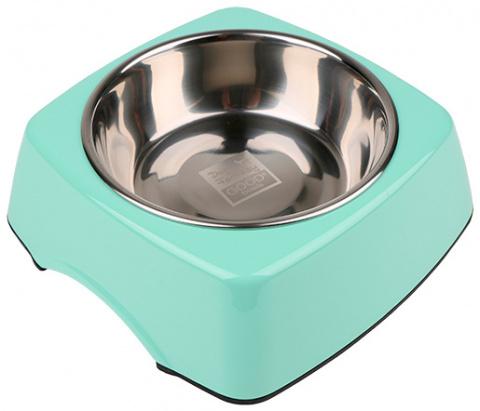 Металлическая миска для собак - Dog Fantasy Стальная миска 2in1 прямоугольник, 350мл, цвет - зеленый title=