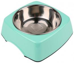 Металлическая миска для собак - Dog Fantasy Стальная миска 2in1 прямоугольник, 350мл, цвет - зеленый