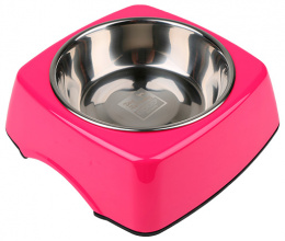 Bļoda suņiem metāla - Dog Fantasy nerūsējošā tērauda bļoda 2in1 taisnstūris, 160ml, krāsa - rozā