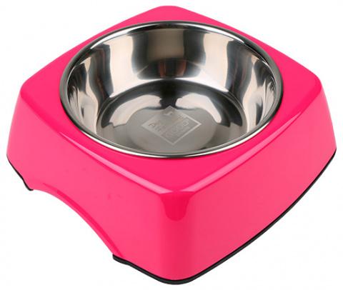 Металлическая миска для собак - Dog Fantasy Стальная миска 2in1 прямоугольник, 350мл, цвет - розовый