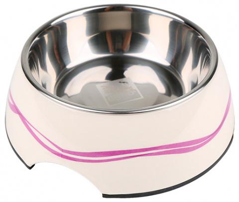 Bļoda suņiem metāla - Dog Fantasy nerūsējošā tērauda bļoda 2in1, 350ml, krāsa - balta ar violetām līnijām