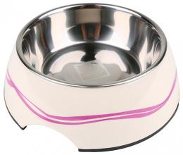 Bļoda suņiem metāla - Dog Fantasy nerūsējošā tērauda bļoda 2in1, 700ml, krāsa - balta ar violetām līnijām