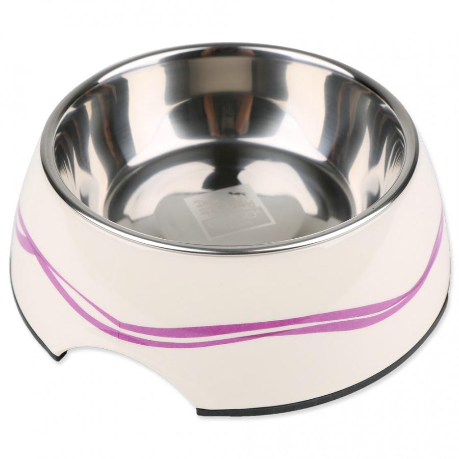 Bļoda suņiem metāla - Dog Fantasy nerūsējošā tērauda bļoda 2in1, 1400ml, krāsa - balta ar violetām līnijām