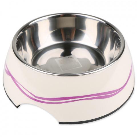 Металлическая миска для собак - Dog Fantasy Стальная миска 2in1, 1400мл, цвет - белый с фиолетовыми линиями title=