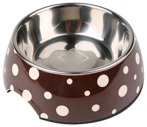 Bļoda suņiem metāla - Dog Fantasy nerūsējošā tērauda bļoda 2in1, 350ml, krāsa - brūna ar punktiņiem title=