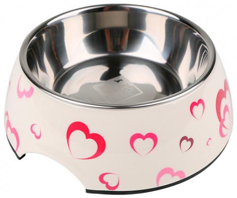 Bļoda suņiem metāla - Dog Fantasy nerūsējošā tērauda bļoda 2in1, 1400ml, krāsa - balta ar sirsniņu dizainu