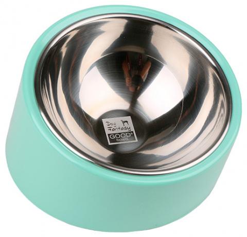 Bļoda suņiem metāla - Dog Fantasy nerūsējošā tērauda apaļa bļoda ar slīpumu, 350ml, krāsa - zaļa title=