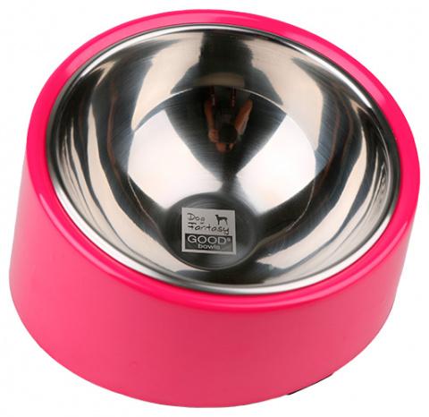 Металлическая миска для собак - Dog Fantasy Стальная миска круглая с уклоном, 700мл, цвет - розовый