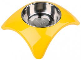 Bļoda suņiem metāla - Dog Fantasy nerūsējošā tērauda bļoda 2in1, star, 160ml, krāsa - dzeltena