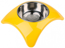 Bļoda suņiem metāla - Dog Fantasy nerūsējošā tērauda bļoda 2in1, star, 350ml, krāsa - dzeltena