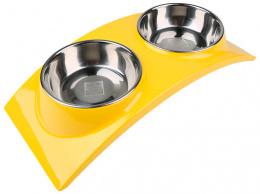 Paliktnis ar bļodām - Dog Fantasy, nerūsējošā tērauda bļoda, 2in1, krāsa - dzeltena, 2*160 ml
