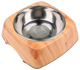 Bļoda suņiem metāla - Dog Fantasy nerūsējošā tērauda bļoda 2in1 kvadrāts, 160ml, krāsa - koka imitācija