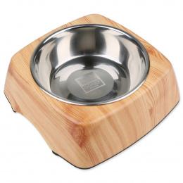 Металлическая миска для собак - Dog Fantasy Стальная миска 2in1 квадратный, 700мл, цвет - имитация дерева