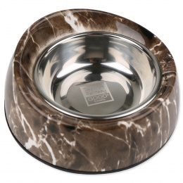 Металлическая миска для собак - Dog Fantasy stainless steel bowl 2in1 round with a slope, stone imitation, 160 мл