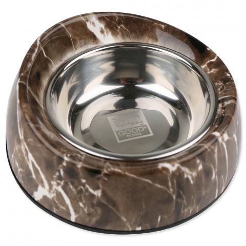 Металлическая миска для собак - Dog Fantasy Стальная миска 2in1 круглый с уклоном, 160мл, цвет - имитация камня title=