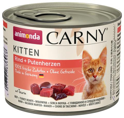 Консервы для кошек - Carny Kitten Beef & turkey hearts 200g
