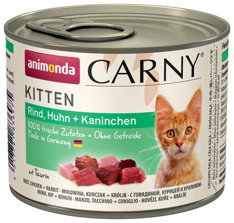 Konservi kaķiem - Carny Kitten Beef, Chicken and Rabbit, 200 g title=