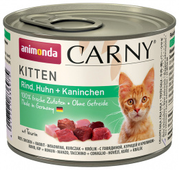 Konservi kaķiem - Carny Kitten Beef, Chicken and Rabbit, 200 g