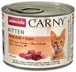 Konservi kaķiem - Carny Kitten Beef, Veal & Chicken, 200 g