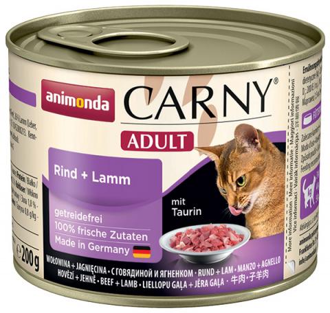 Konservi kaķiem - Carny Adult, ar liellopa un jēra gaļu, 200 g title=