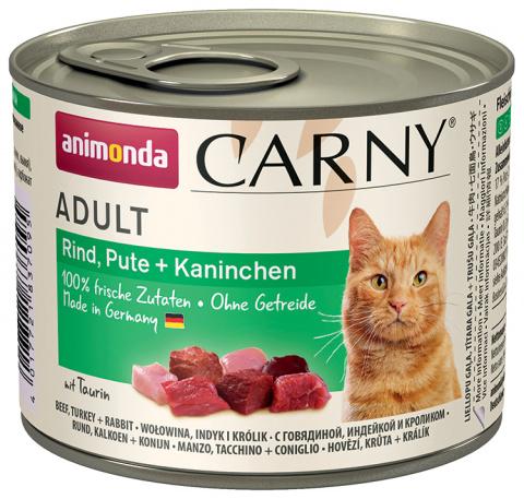 Konservi kaķiem - Carny Adult, ar liellopa, tītara un truša gaļu, 200 g title=