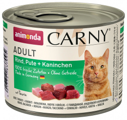 Konservi kaķiem - Carny Adult Beef, Turkey & Rabbit, 200 g