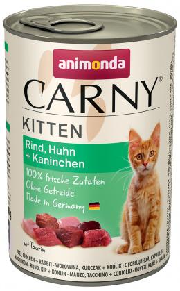 Konservi kaķēniem - Carny Kitten Beef, Chicken & Rabbit, 400 g