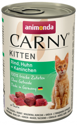 Konservi kaķiem - Carny Kitten Beef, Chicken & Rabbit, 400 g
