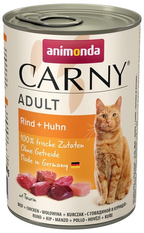 Konservi kaķiem - Carny Adult, ar liellopa un cāļa gaļu, 400 gr.