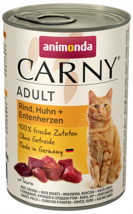 Konservi kaķiem - Carny Adult Beef, Chicken & Duck Hearts, 400 g