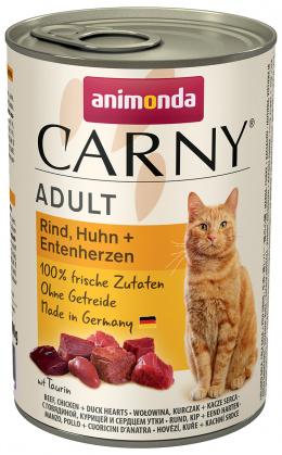 Konservi kaķiem - Carny Adult Beef, Chicken & Duck hearts 400g