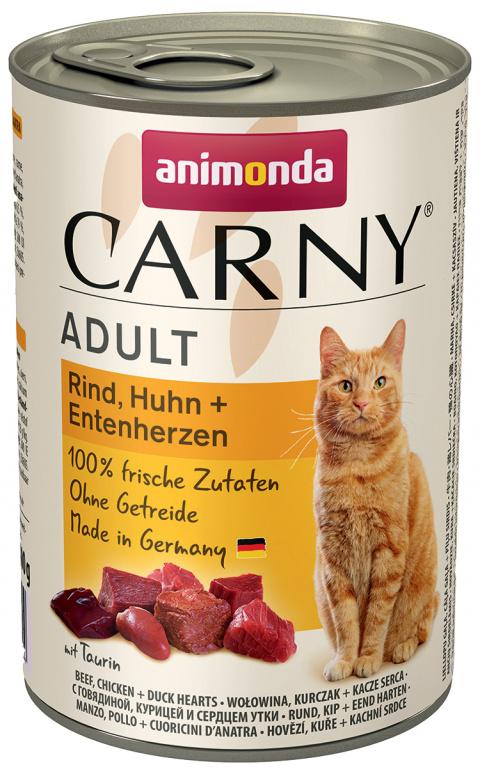 Консервы для кошек - Carny Adult, с говядиной, курицей и утиными сердечками, 400 г title=