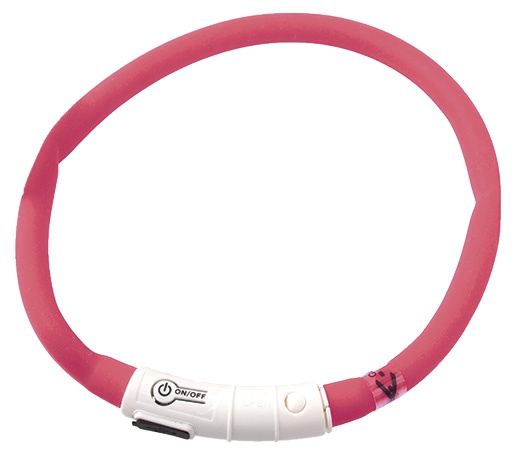 Отражающий ошейник - DogFantasy Светодиодный мигающий LED ошейник, перезаряжаемый, 45cm, розовый