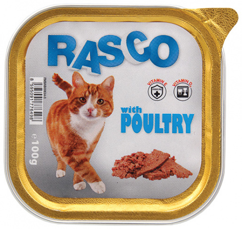 Konservi kaķiem - RASCO ar mājputnu gaļu, 100g title=