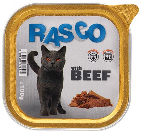 Konservi kaķiem - RASCO ar liellopa gaļu, 100g title=