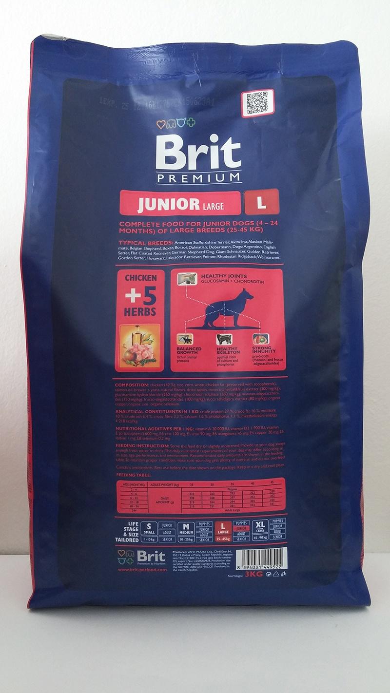 Barība suņiem - BRIT Premium Junior L, 15kg